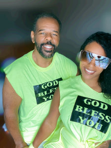 "TEE ""GOD BLESS YOU"" (LIME GREEN UNISEX)"