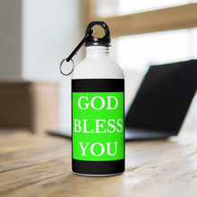Load image into Gallery viewer, GOD BLESS YOU Stainless Steel Water Bottle (Lime/Blk/White)