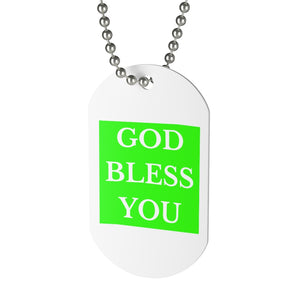 GOD BLESS YOU Neck Tag (Lime)