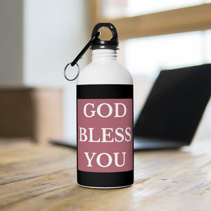 GOD BLESS YOU Stainless Steel Water Bottle (Rose Gold/White/Blk)