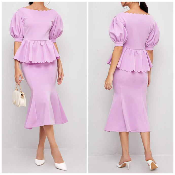 Lilac Peplum Skirt Set (M)