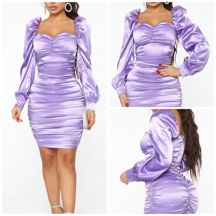 Lavender Satin Dress (M)