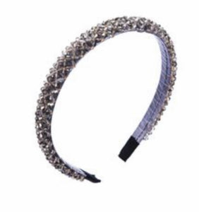 silver crystal bead Head Band