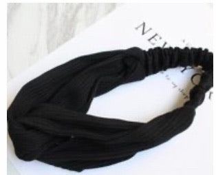 pleated black stretchy Headband wrap