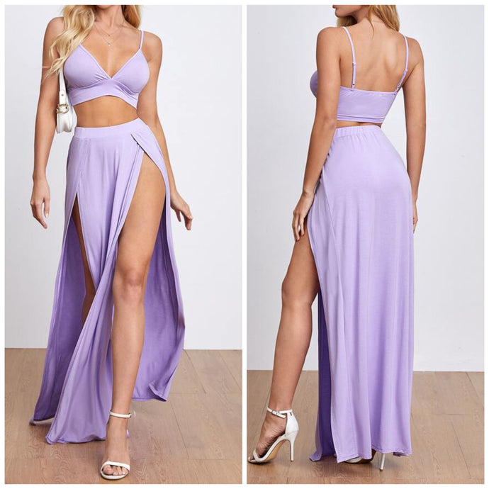 Lavender 2pc Split Skirt Set (M)
