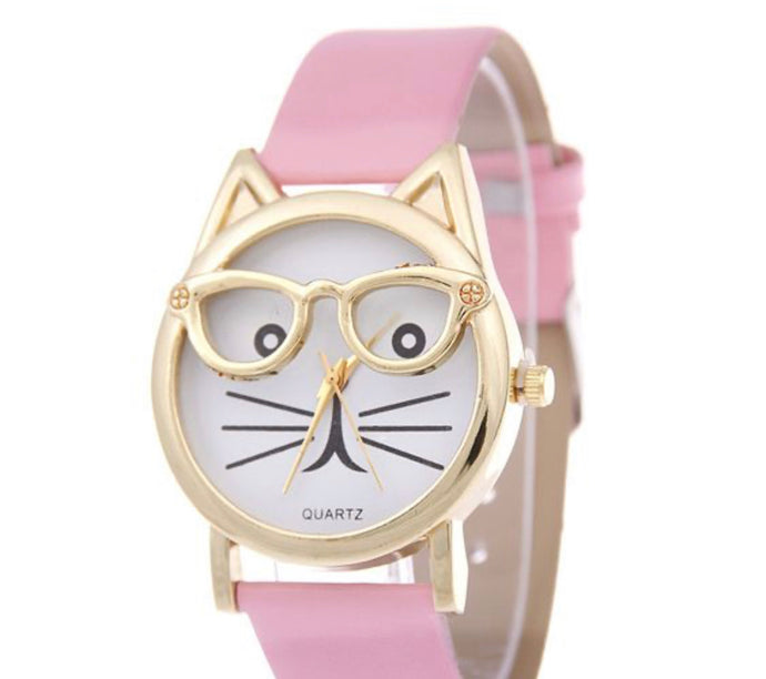 Cat pink/Gold watch