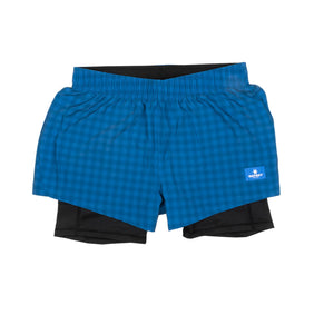 ランニングショーツ Wmns Checker 2 In 1 Shorts - BLUE CHECKERBOARD [ユニセックス] FGRSH01