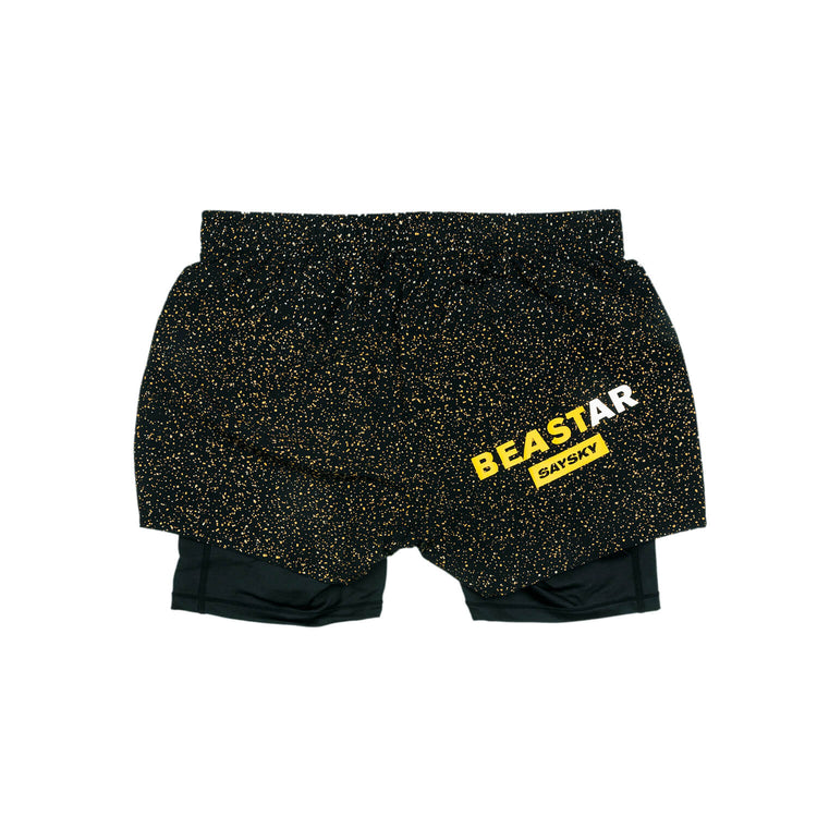 ランニングショーツ Wmns Universe 2 In 1 Shorts - BLACK / OLIVE OIL UNIVERSE [レディーズ] FGRSH02