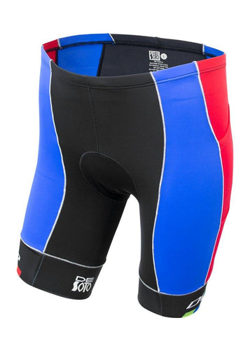 トライスーツ トライショーツ MOBIUS Triathlon Short 4 Pocket - Red/Blue/De Soto Leg Band [メンズ] MTFrdbl - STYLE BIKE ONLINE SHOP