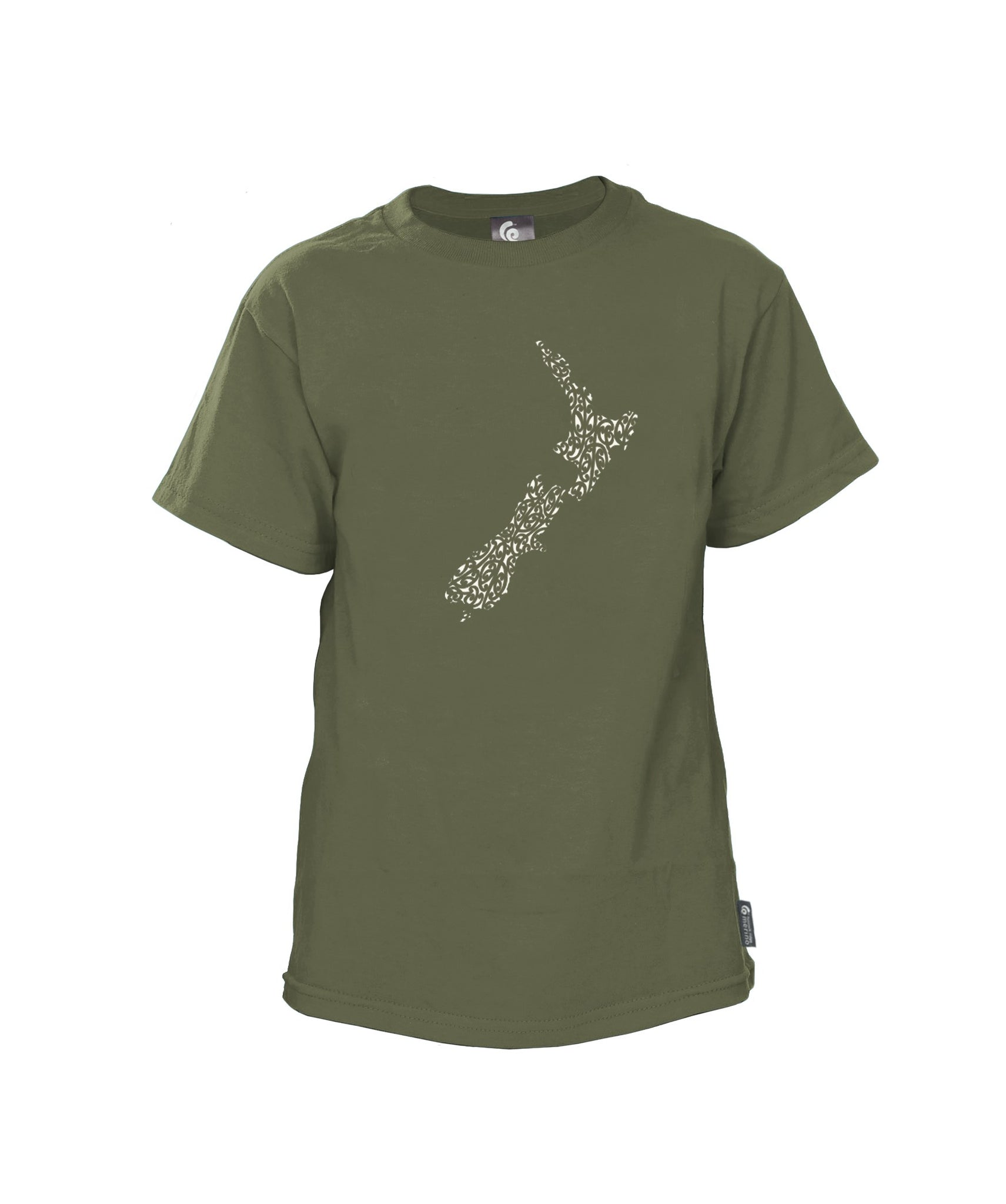 Merino Kids NZ Map Tee. Made in New Zealand
