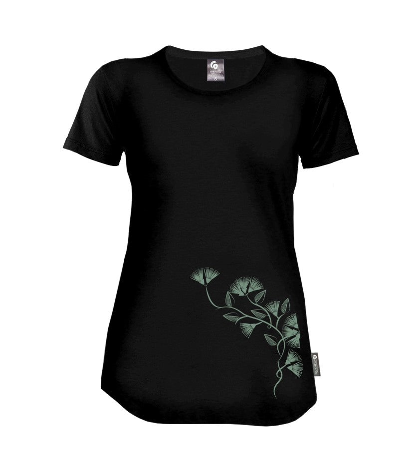 Merino Ladies Pohutukawa Tee. Made in New Zealand.