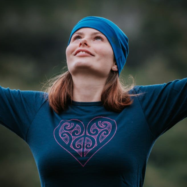 Merino Ladies Long Sleeved Koru Heart Tee. Made in New Zealand