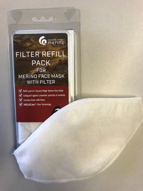 Merino Face Mask HELIX.iso Filter Refill Pack. Made in New Zealand