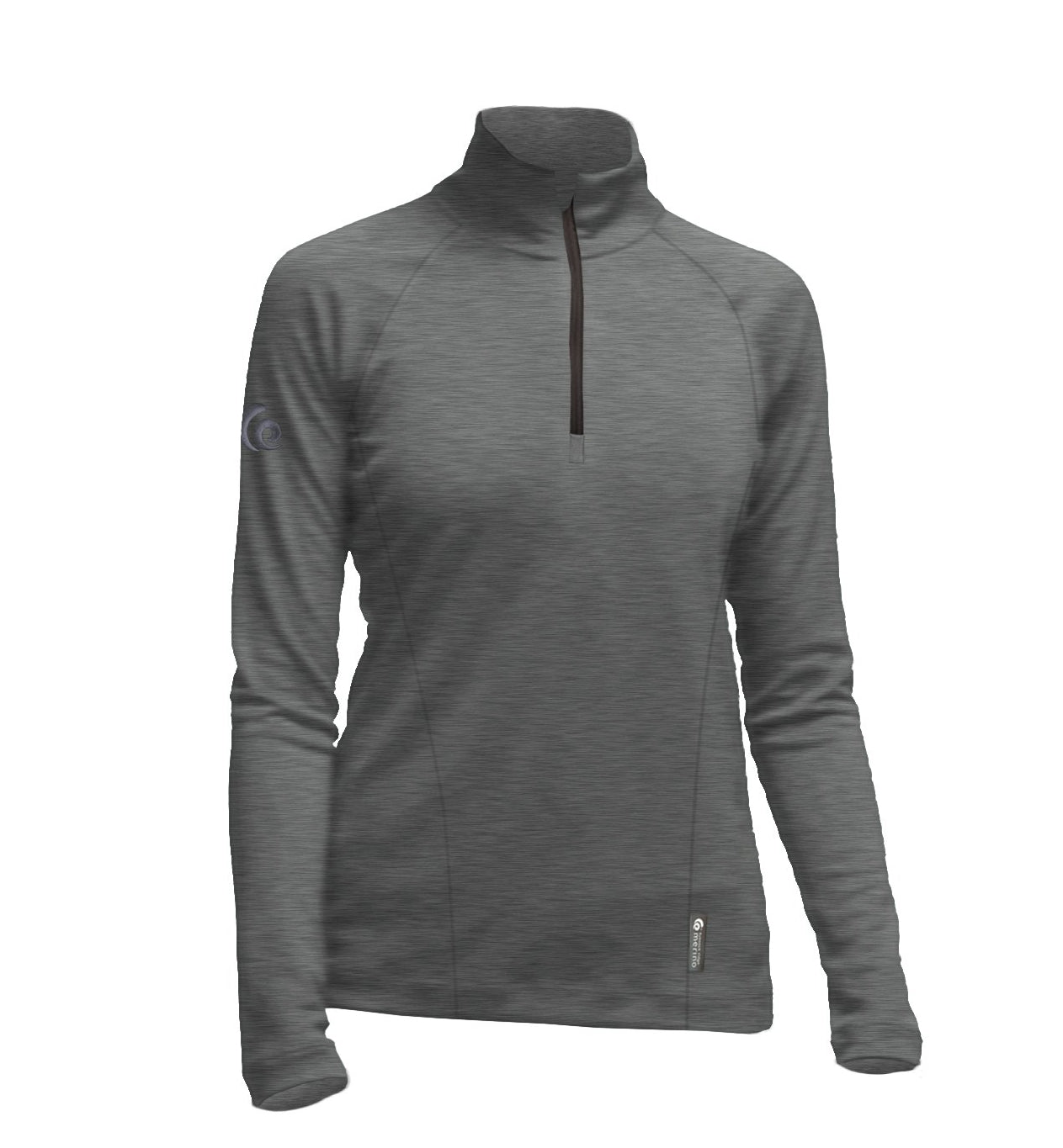 Merino Ladies Charcoal Marle Mid-weight Half Zip. Made in New Zealand