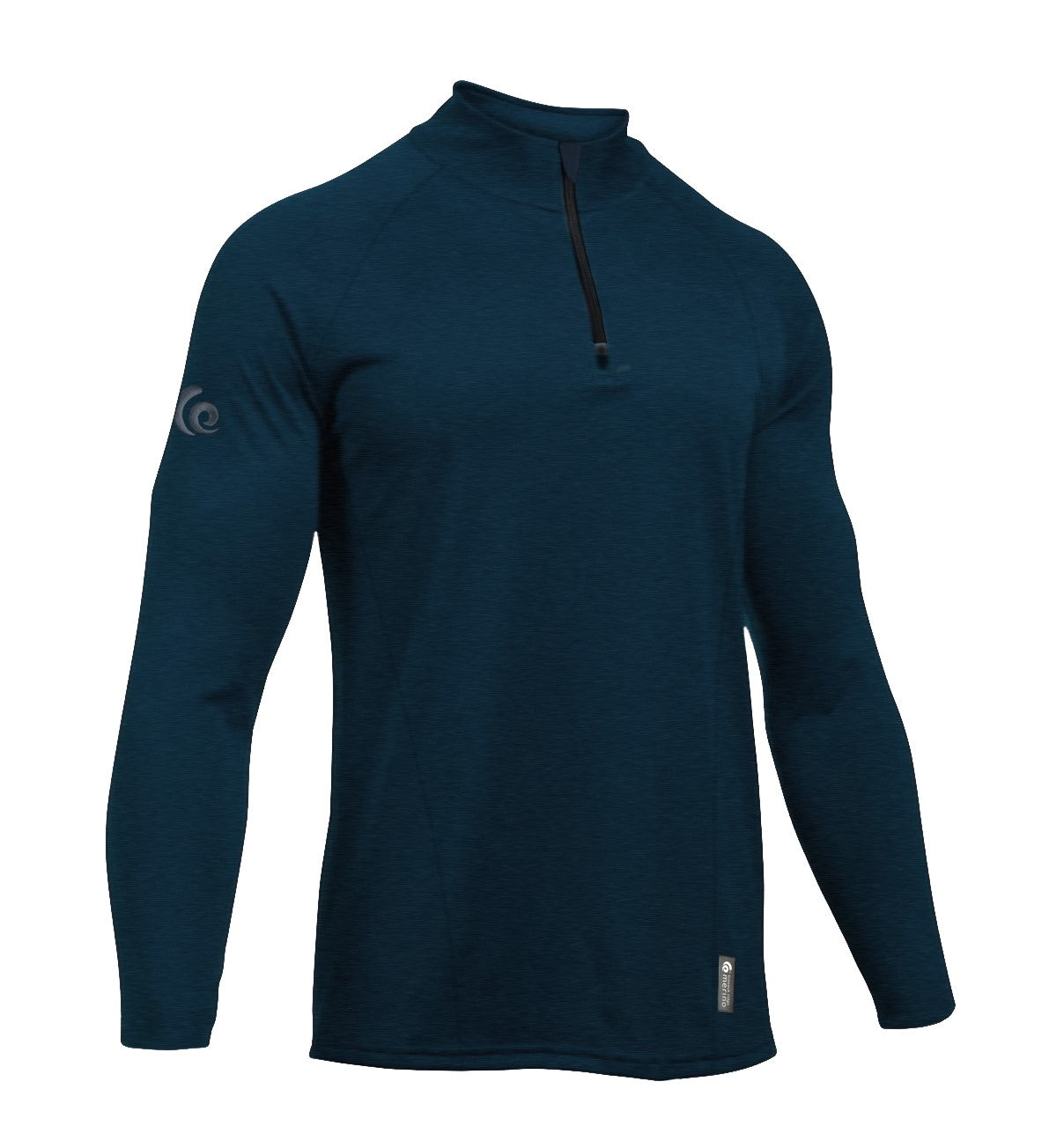 Merino Men's Navy Mid-weight Half Zip. Made in New Zealand