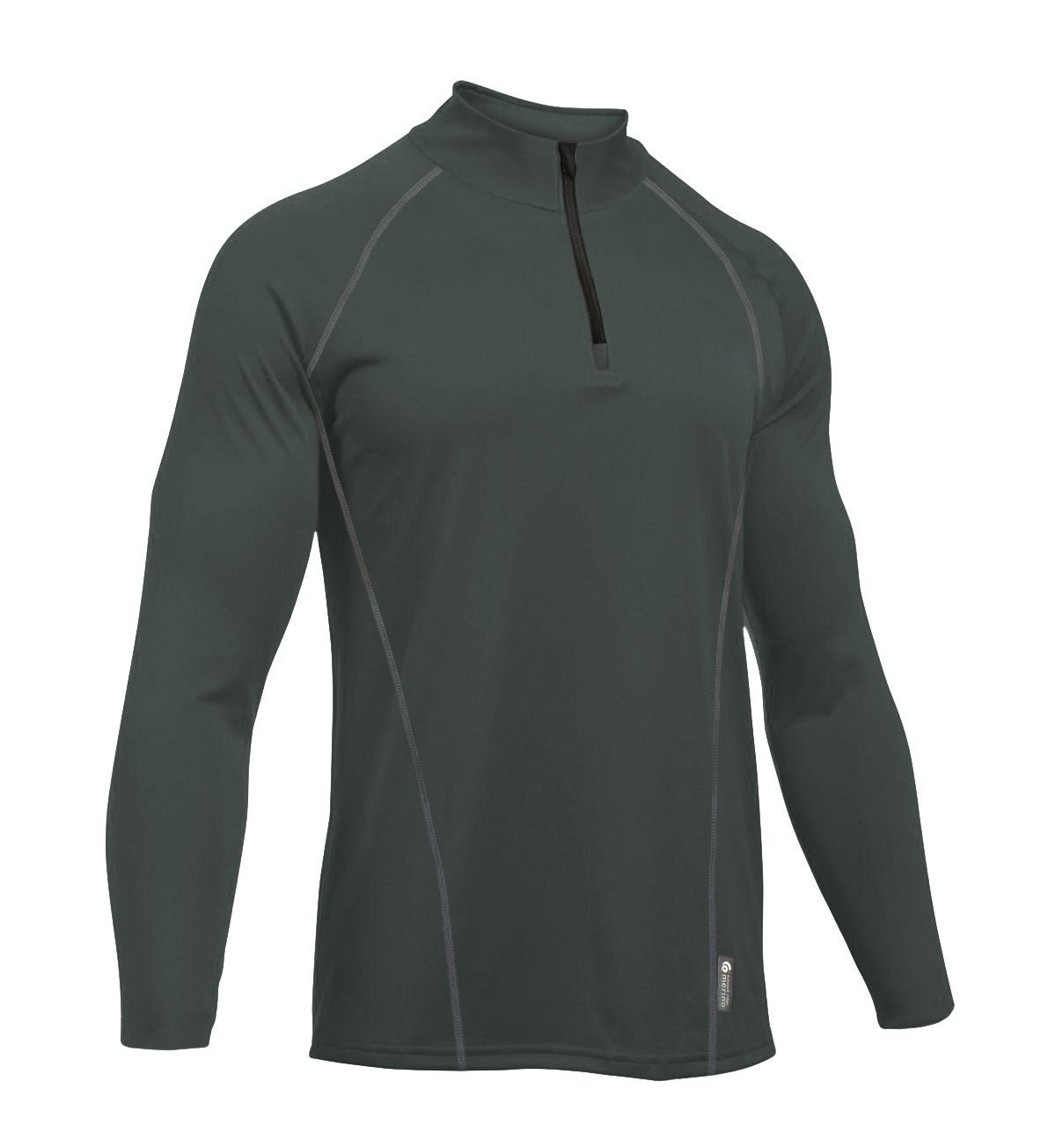 Merino Men's Charcoal Light-weight Half Zip. Made in New Zealand