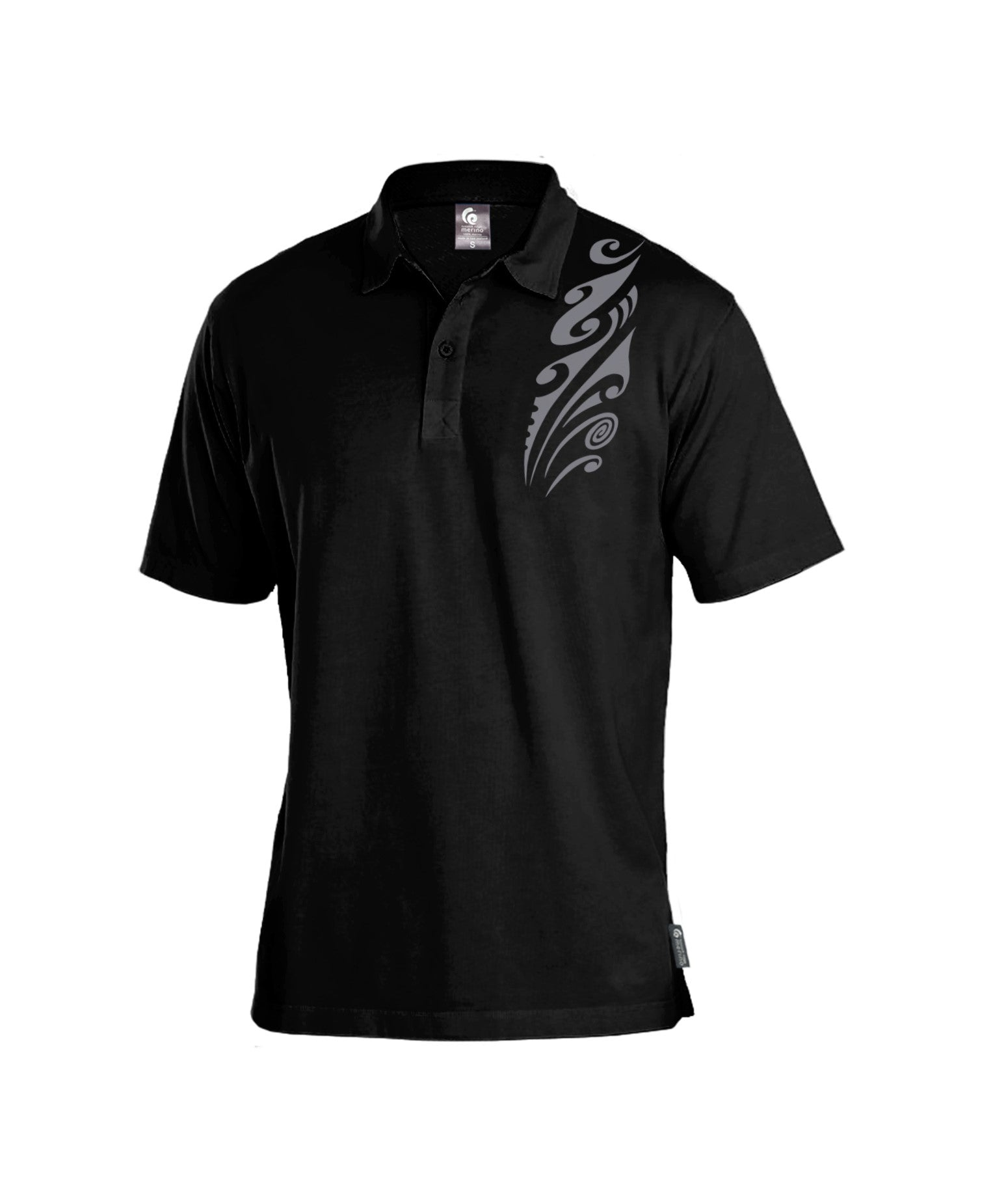 Merino Men's Black Polo. Made in New Zealand
