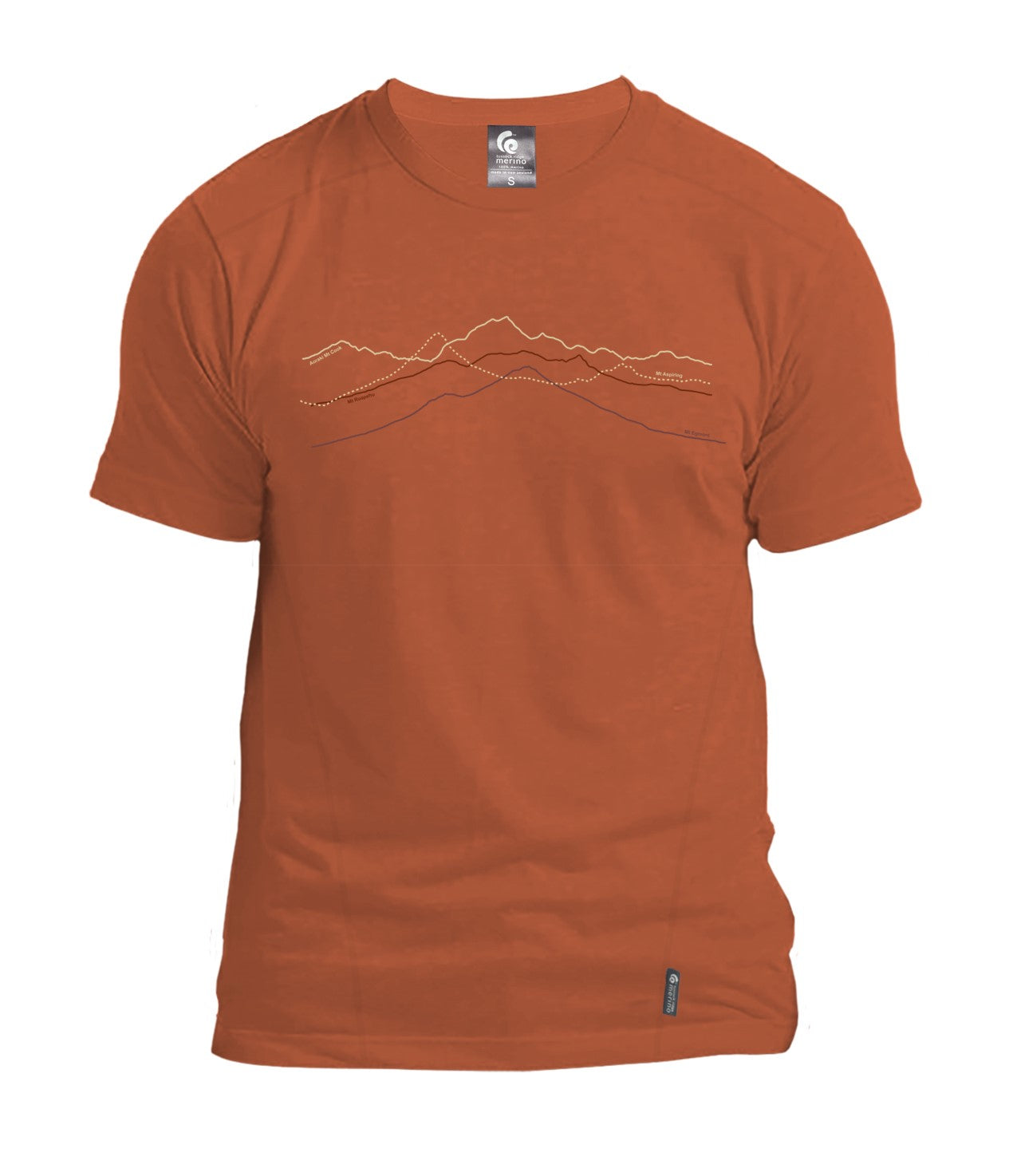 Merino Men's Mountain Peaks Tee. Made in New Zealand