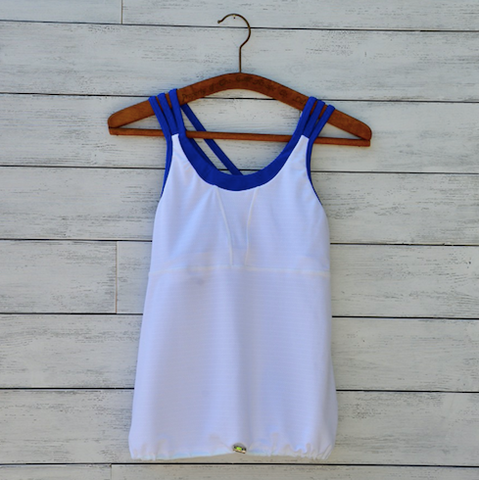 Sarah tank - white w/royal blue straps