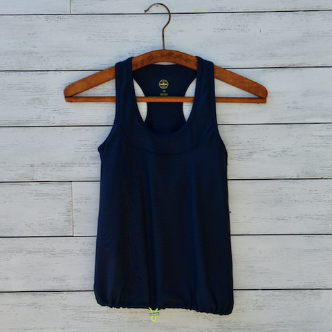 Christina top - navy w/yellow logo