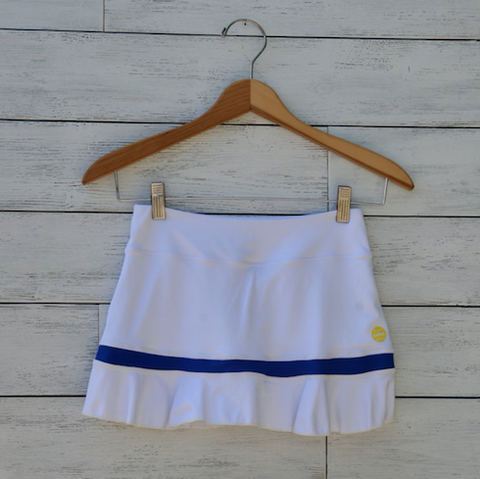 Olivia Skort - white w/royal blue trim