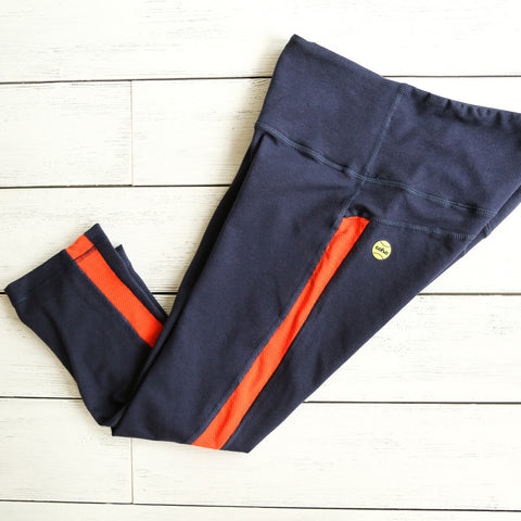 Cropped Leggings - navy w/orange mesh