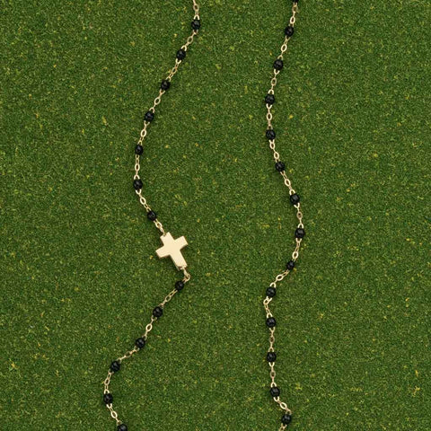 Black Cross Necklace by Gigi Clozeau
