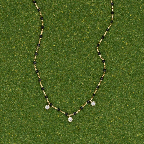 MINI GIGI 3-diamond Black Necklace by Gigi Clozeau