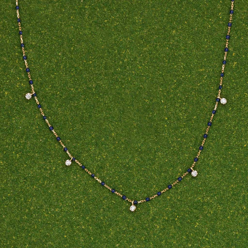 Navy MINI GIGI Necklace (5 diamonds) by Gigi Clozeau