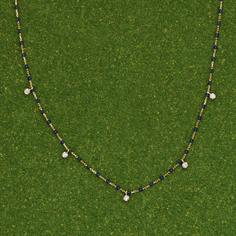 MINI GIGI 5-diamond Navy Necklace by Gigi Clozeau