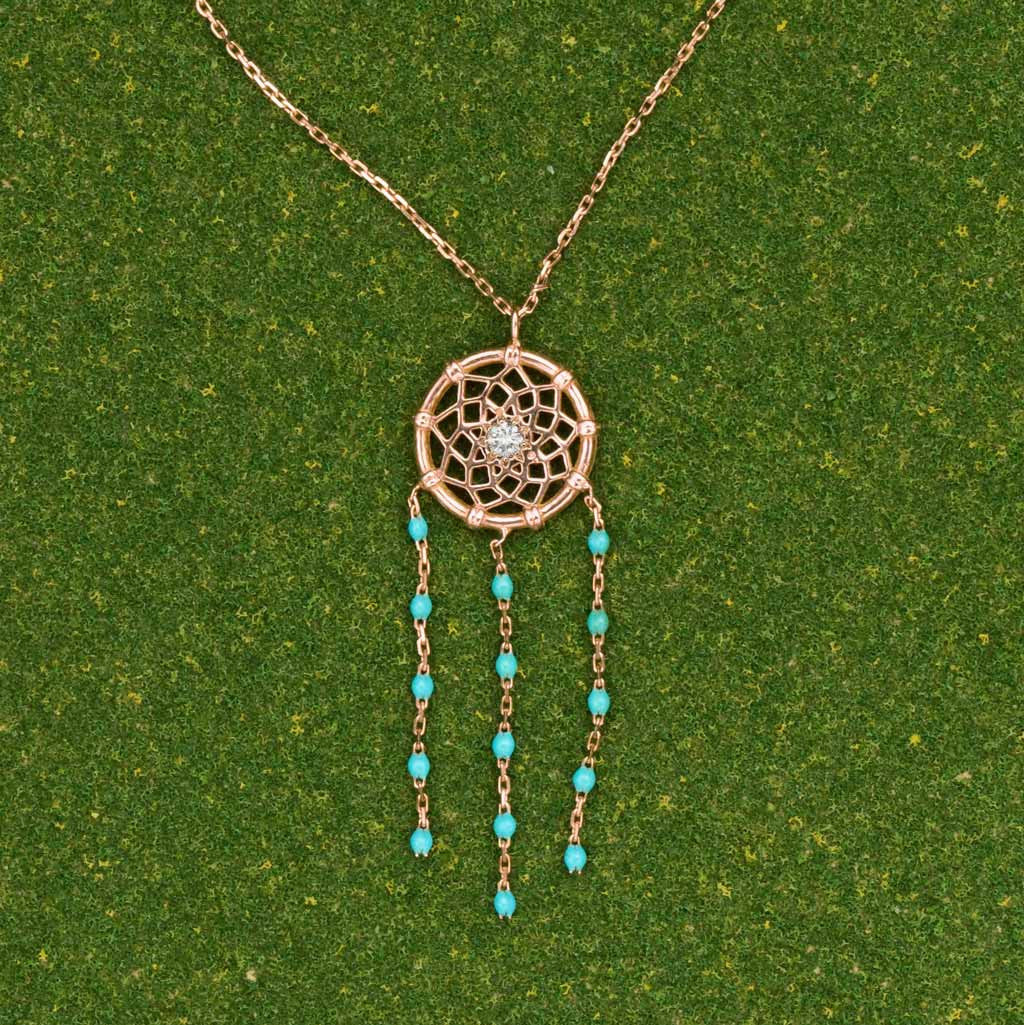 Turquoise Dream Catcher Necklace (Pink Gold) by Gigi Clozeau