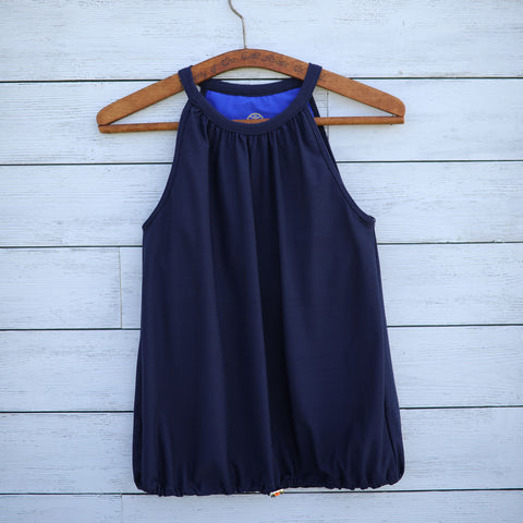 Poppy top - navy w/yellow logo