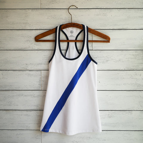 Practice tank - white w/blue diagonal stripes
