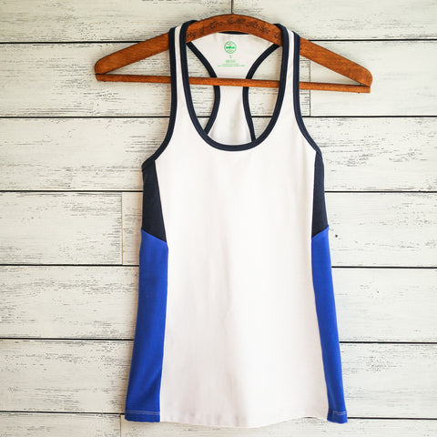 Practice tank - white w/blue side stripes