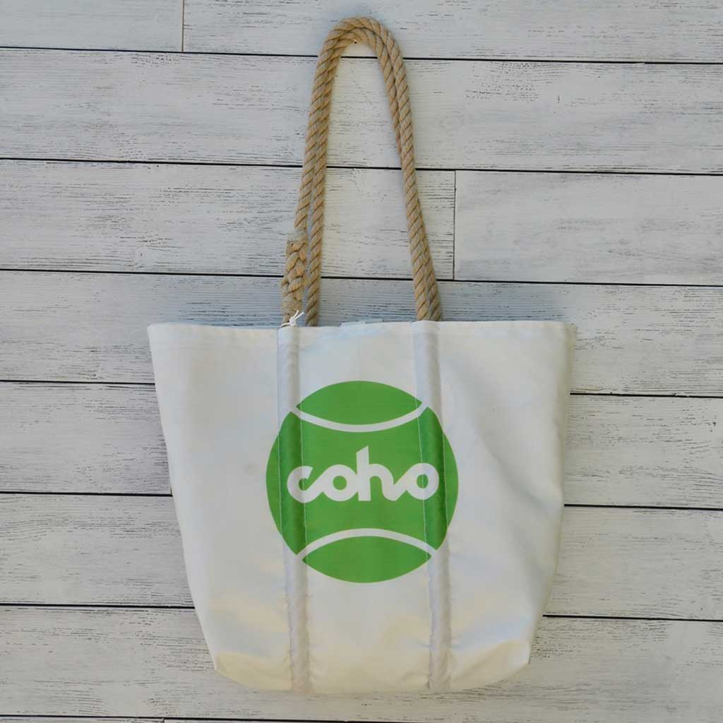 Sea Bags medium tote white w/green logo