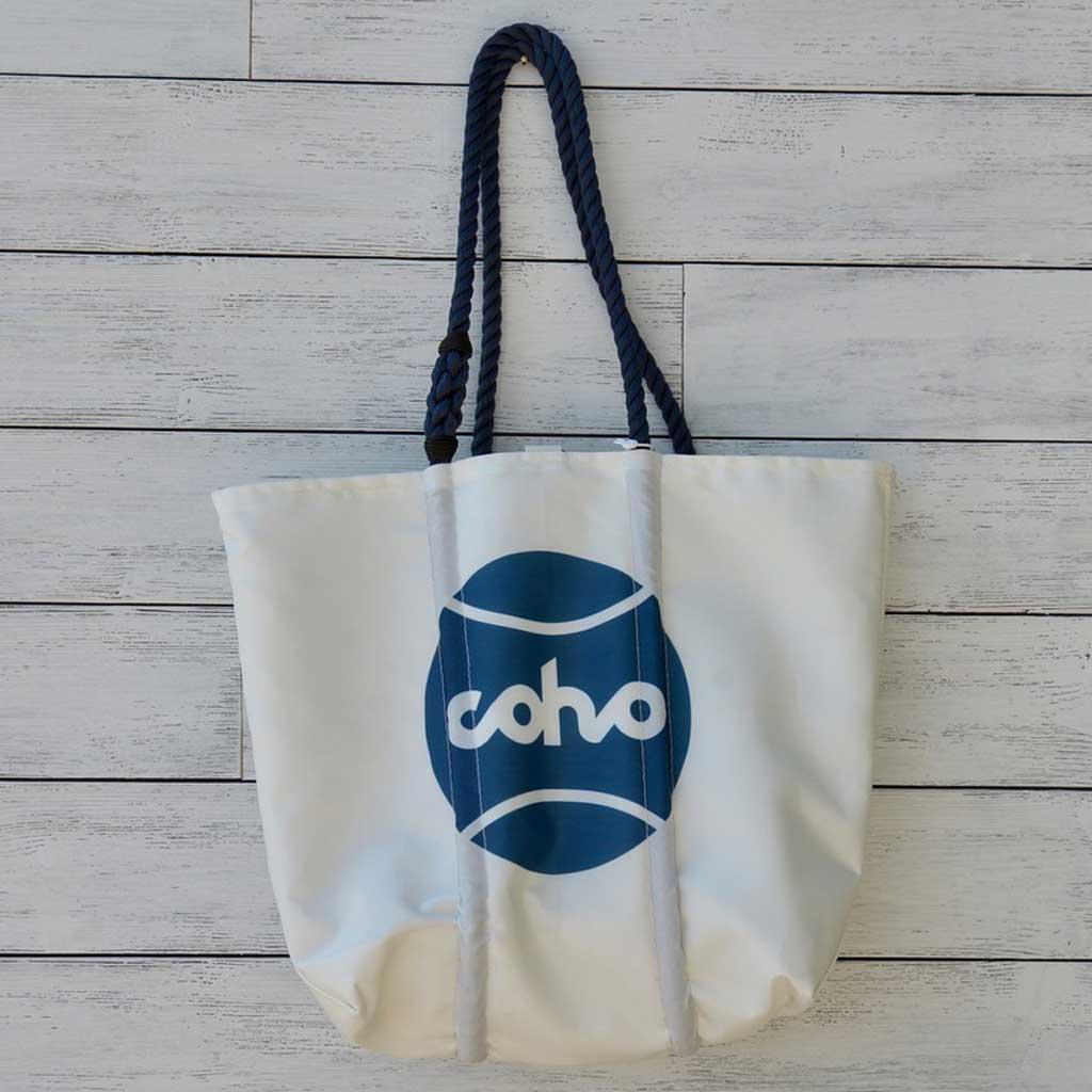 Sea Bags medium tote - white w/navy logo