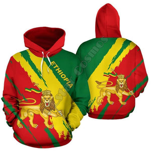 Ethiopian Flag Color with Lion of Judah 3D Hoodies for Men and Women!
