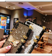 Load image into Gallery viewer, Jeweled Square Lanyard Case for Samsung Galaxy Phone!