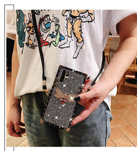 Jeweled Square Lanyard Case for Samsung Galaxy Phone!