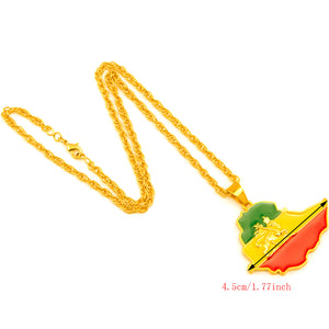 Ethiopian Flag Chain With Lion of Judah for Women and Men!