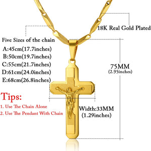 Gold Plated Stainless Steel Cross Chain for Men!