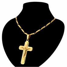 Load image into Gallery viewer, Gold Plated Stainless Steel Cross Chain for Men!
