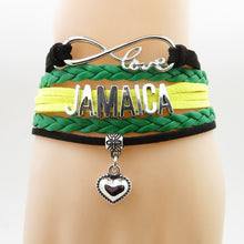 "Load image into Gallery viewer, Leather ""Infinity Love for Jamaica"" Bracelet!"
