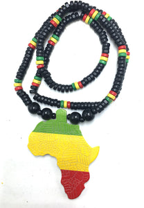 Africa Map Wooden Pendant Necklace for Men!