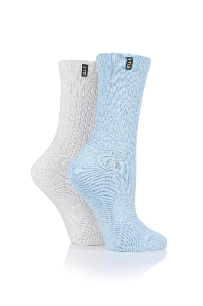 Elle ELLE Ladies 2pr Elle Lurex Velvet Soft Rib Boot Socks - Dreamy Blue