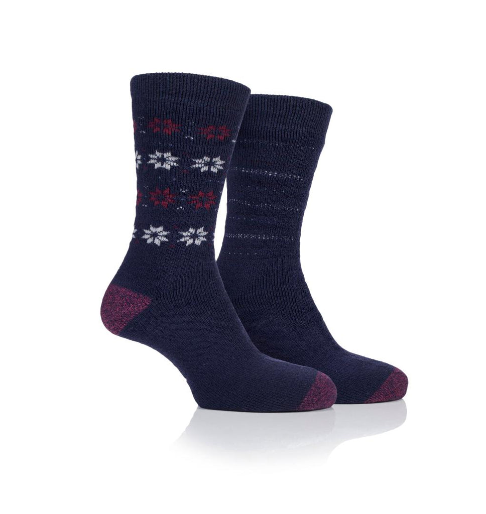 Jeep Jeep Mens 2pr Jeep Brushed Thermal Boot Socks - Navy Berry