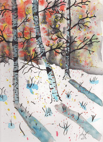 Birch original watercolor