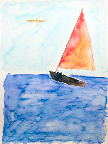 Sail away original watercolor