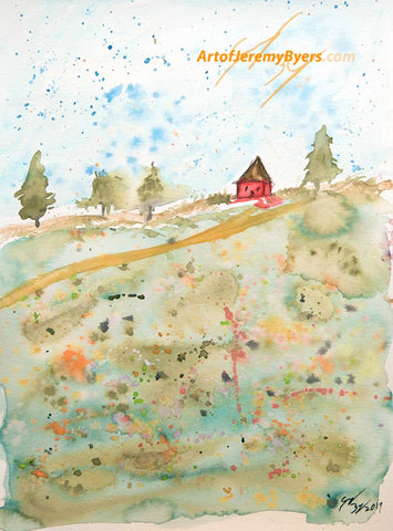 On the farm original watercolor