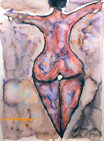 Round rear nude original watercolor